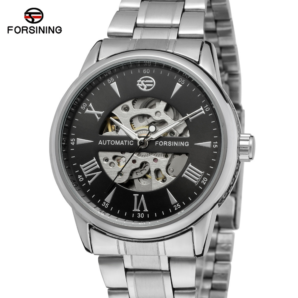 Automatic watch men 39 s wristwatch classic luxury transparent skeleton mechanical watches brand for Classic skeleton watch