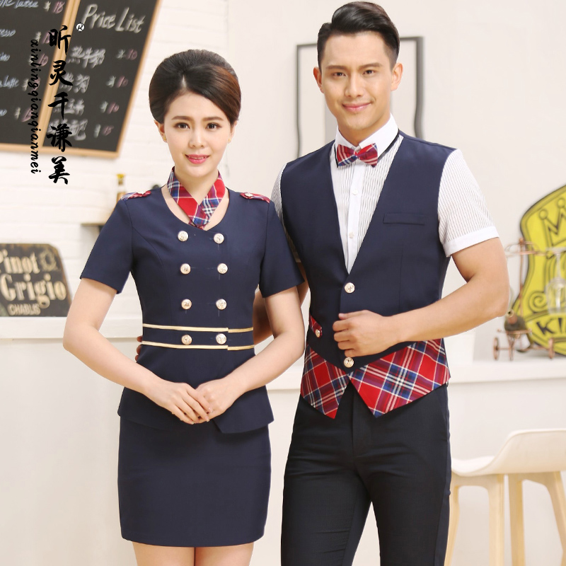 Hotel Uniform Summer Female Ktv Cashier Restaurant Cafe Waiter Short Sleeved Vest Suit Work Clothes J065