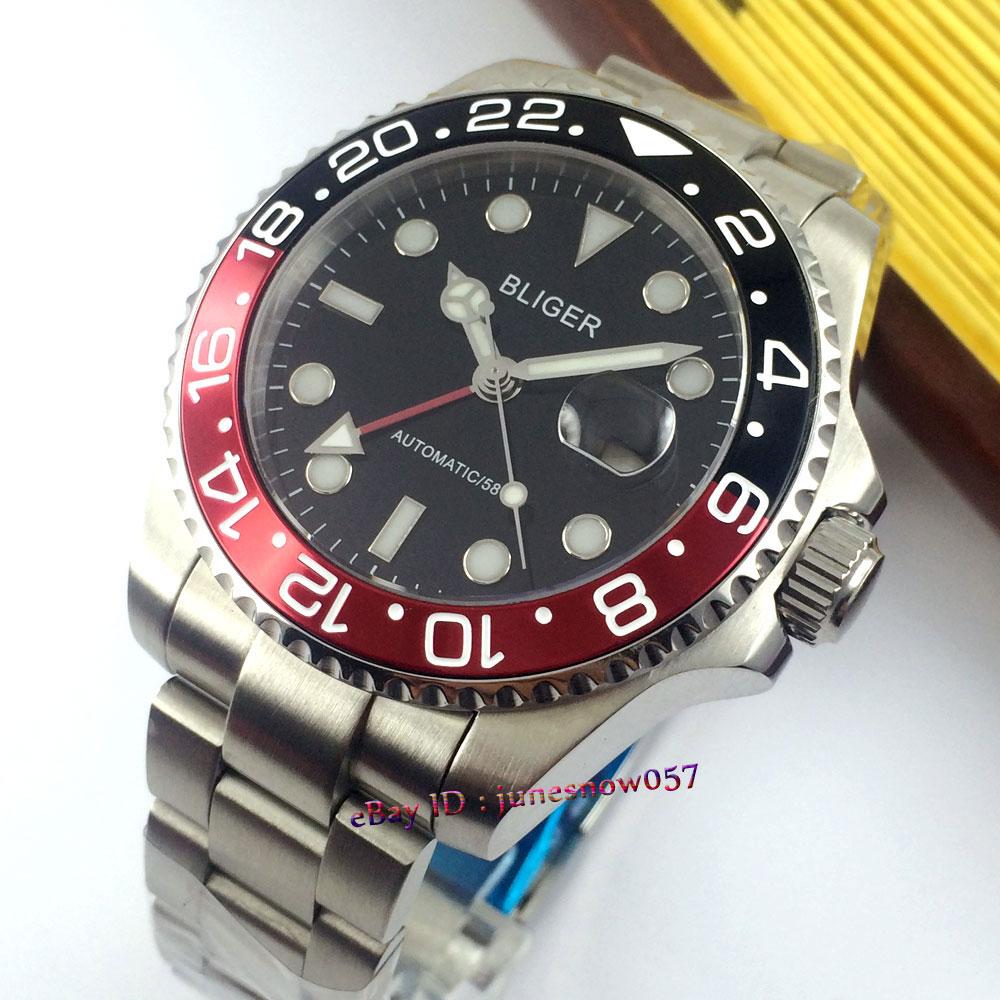 Bliger watch 43mm black dial Luminous hands GMT red and black Bezel sapphire glass Automatic movement Men's watch P118 цена