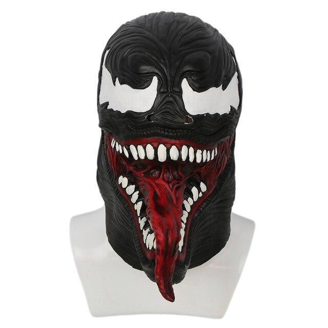 Coslive Spider-Man Venom Mask Black & Red Latex Hood Mask for Halloween Cosplay For Men Adult