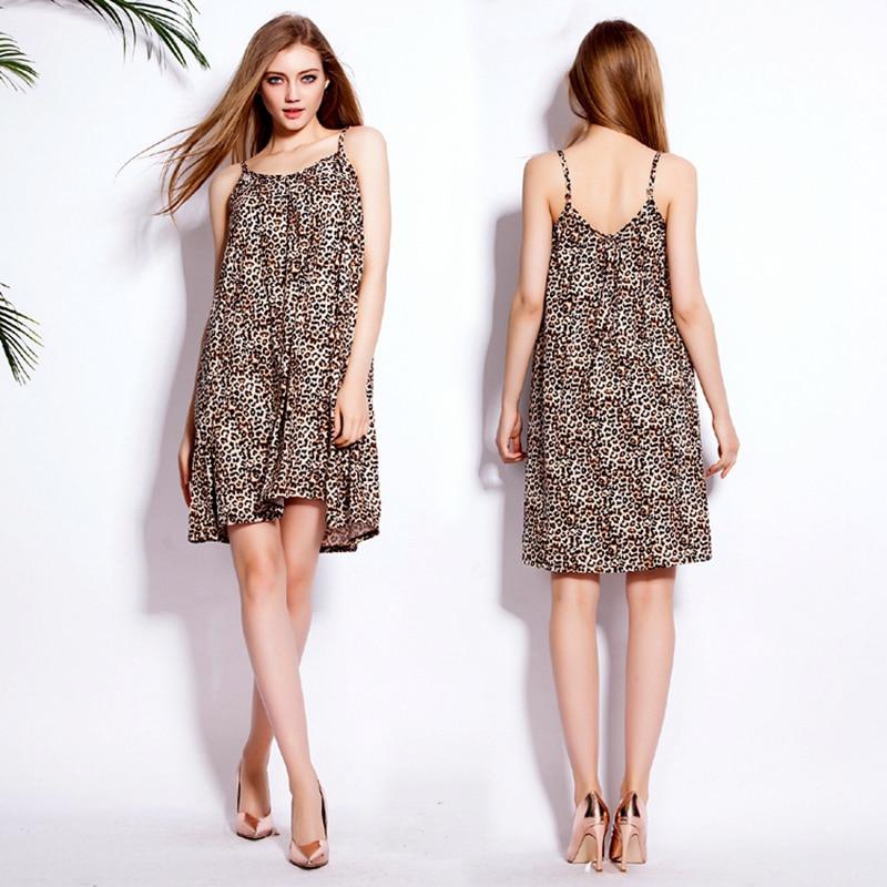 2017 New Women's Summer Adjustable Shoulder Strap Sleeveless Leopard Cotton Stretch Sling Beach Dress