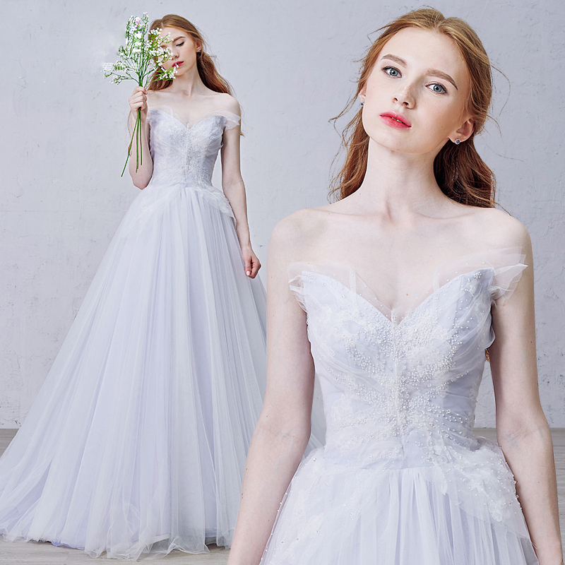 Dreaming Violet Wedding Dress Sexy V Neck Beaded Wedding Gowns