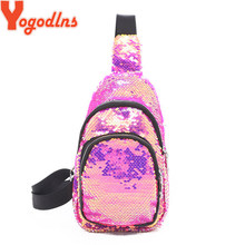 Yogodlns Fashion Women Waist Pack Mermaid Sequin Travel Money Phone Fanny Chest Bag For Teenager Girl Glitter Waist Shoulder Bag(China)