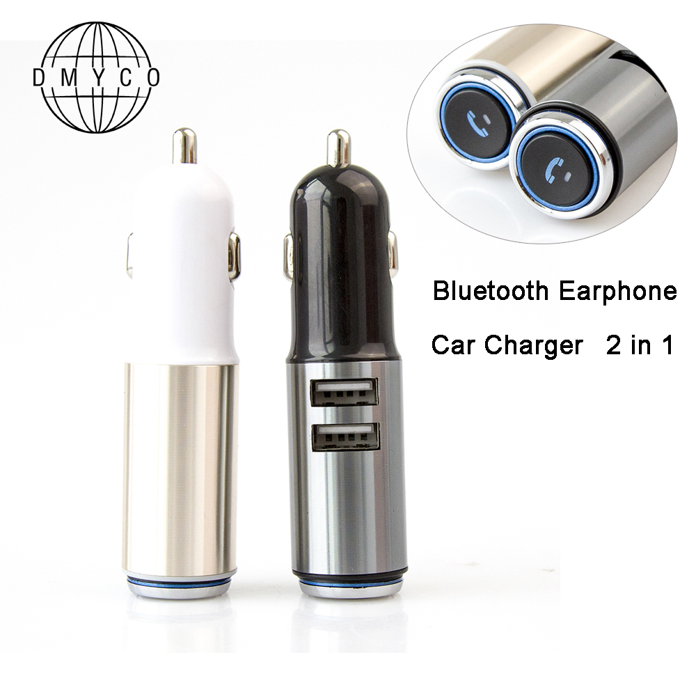Bluetooth Earphone Mini Headset Dual USB Mobile Phone Car Charger Travel Adapter For Iphone Samsung HUAWEI XIAOMI Phone Charger remax 2 in1 mini bluetooth 4 0 headphones usb car charger dock wireless car headset bluetooth earphone for iphone 7 6s android