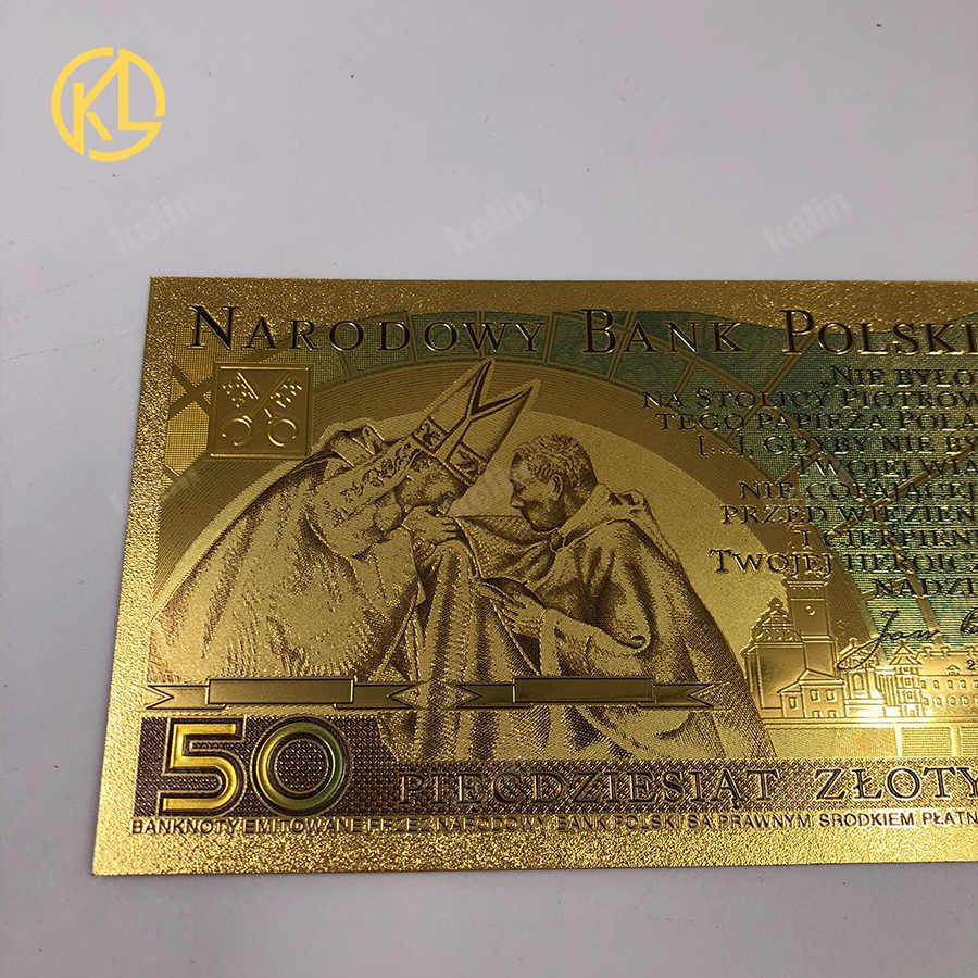 1 шт. Красочные 50 злотых золотые польские банкноты Джон Пол II Позолоченные пластиковые копии денег для сбора и сувенира подарок