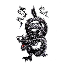 3D Tatoo For Body Art Cool Fake Tattoo Men Male Creative Design Black Dragon Waterproof Temporary Tattoo Stickers Sex Products