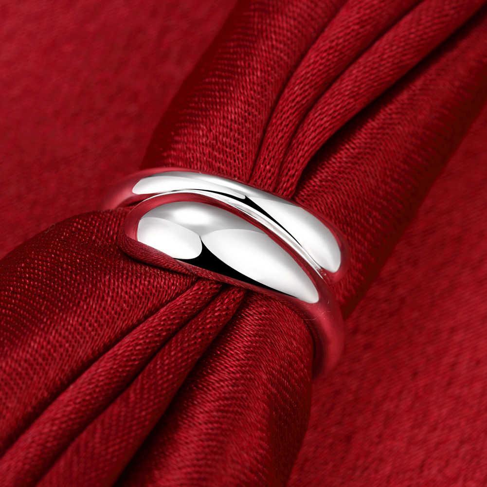 เงินสีคู่รอบหัว Waterdrop แหวนปรับขนาดใหม่แฟชั่นผู้หญิงเครื่องประดับงานแต่งงานที่ไม่ซ้ำกันครบรอบของขวัญ