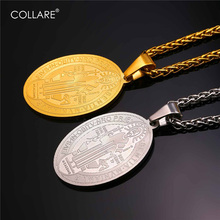 Collare St. Benedict Medal Pendant Stainless Steel Oval Catholic Men Jewelry Gold Color Saint Benedict Medal Necklace Women P908