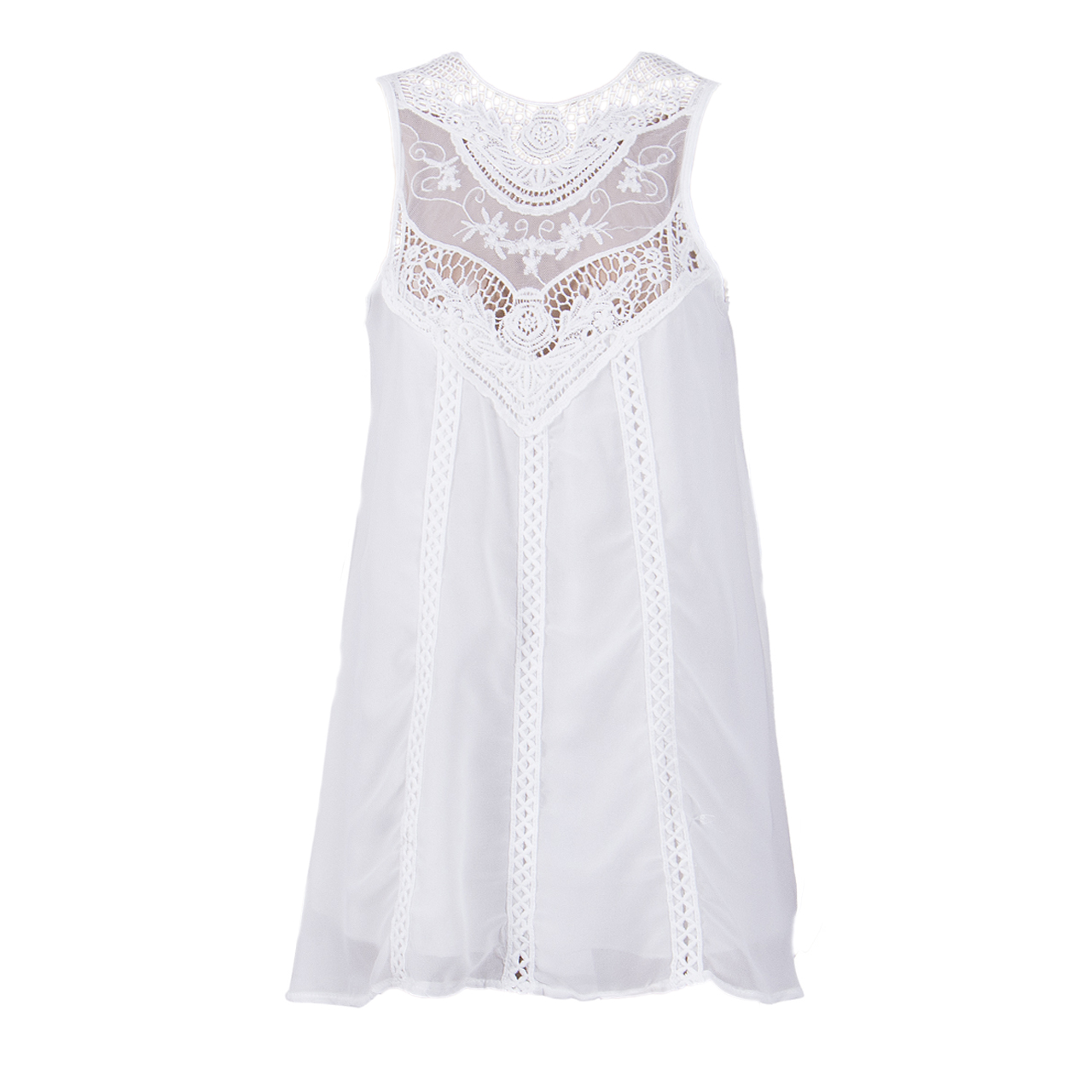 HOT Fashion Summer Dress 2017 Women Clothing Lace Sleeveless Womens Short Mini Ladies Beachwear White Chiffon Mini Dress 6-16