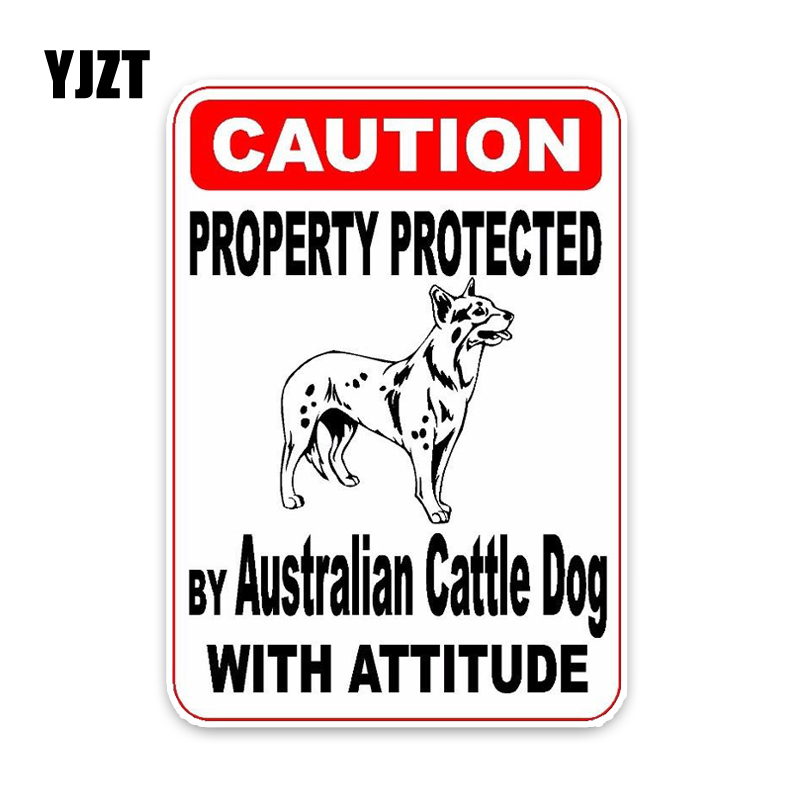 YJZT 15*11.4CM Property Protected By Australian Cattle Dog Car Decoration Bumper Car Sticker C1-4685