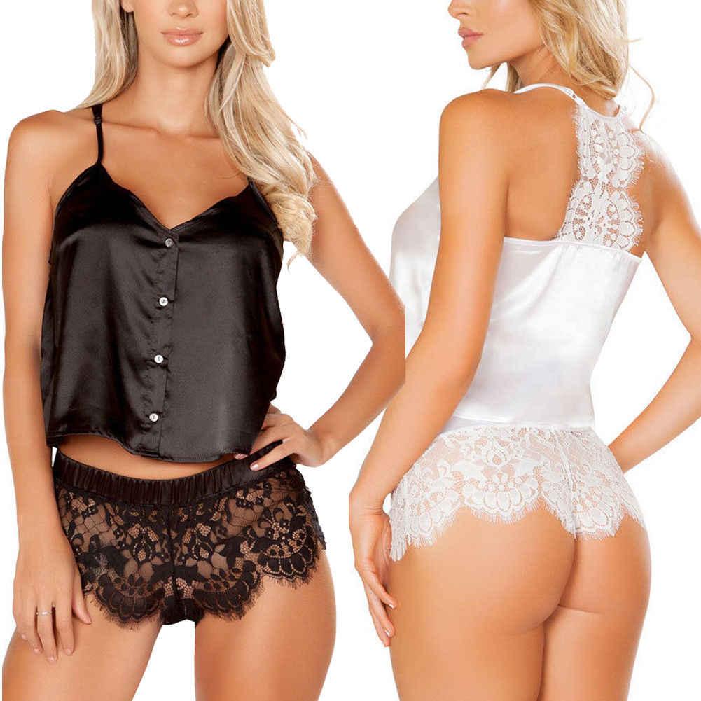 9e3a3f3197 Summer 2pcs Women Sexy Lace Sleepwear Babydoll Sleevel Pajama Sets Lingerie  Nightdress Lace Pajamas Set Fashion