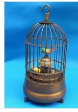 decoration BRASS factory Pure Brass Antique Old Exquisite Chinese brass bird cage Mechanical Table Clock Alarm