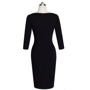 Image 3 - Güzel sonsuza kadar olgun zarif seksi v yaka şık düğme iş elbisesi ofisi Bodycon kadın 3/4 kollu kılıf kadın elbise B335