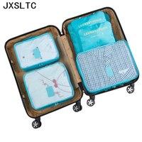 6ピース/セット女性旅行収納袋高容量荷物服整頓主催ポーチスーツケースポータブル防水収納ケー