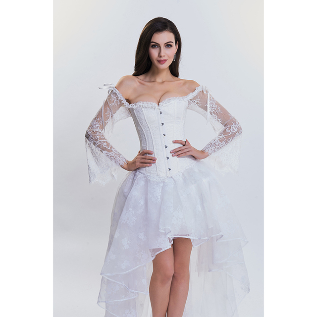 3d36d753f Sexy Off Shoulder Lace Sleeves Strapless Corset for Women Black White Bride  Corset Top Korset Espartilho Fajas Modeladoras XXL