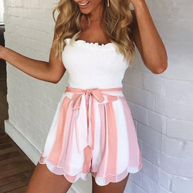 Women Summer Casual Printing Striped Short For Women Petal Double Layer short feminino high waist shorts for female feminino