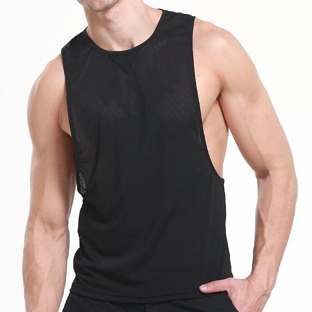 Mens Vivid Tank Tops Low Cut Armholes Vest  2018 Brand New Mesh Breathable Black Sexy Tank Muscle Mans Vest Singlet Shirt