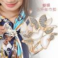 2016 мода позолоченные шарф горный хрусталь кристалл бабочка брошь аксессуары для одежды женщин