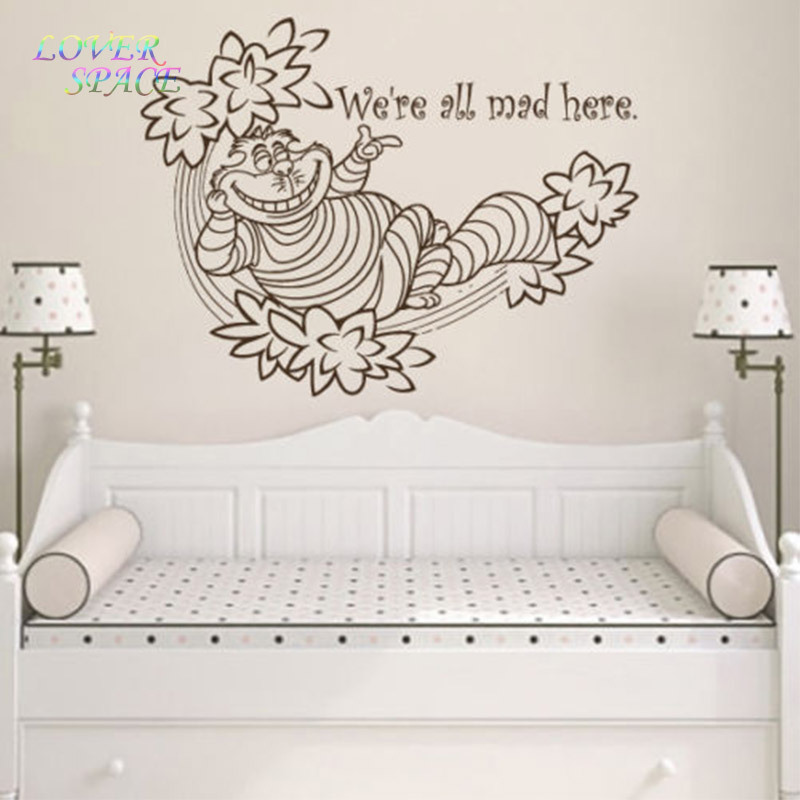 Wall decals quote we 39 re decal alice in wonderland vinyl for Stickers para pared