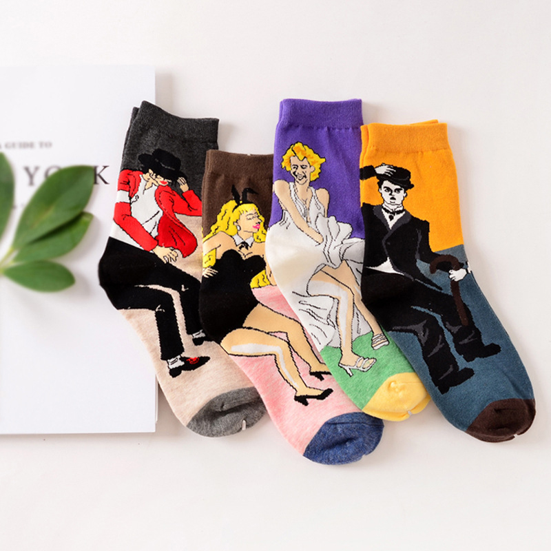Fashion Unisex Retro Abstract Oil Painting Monroe Jackson Chaplin Bunny Couple   Socks   Women's Casual Cotton Crew Christmas   Socks