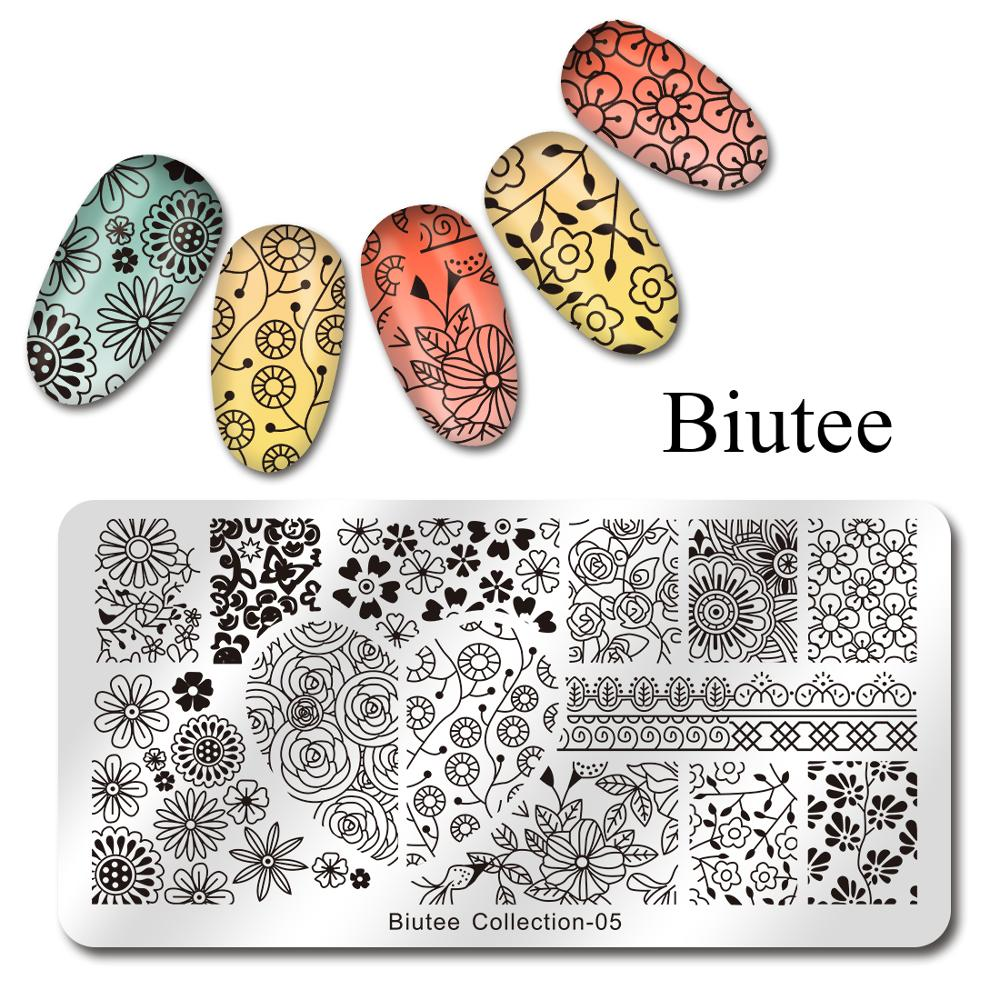 Image 4 - Biutee Nail Stamping Plates Stamper Scraper Nail Template Flowers Geometric Patterns DIY Nail Designs Manicure Stamp Plate-in Nail Art Templates from Beauty & Health