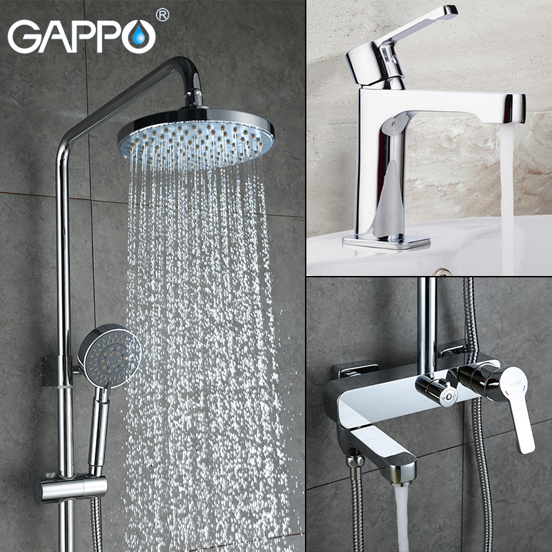 GAPPO shower faucet basin sink faucet shower mixer tap bath faucet mixer Rainfall Bath tub taps bath shower set shower system roses print bath waterproof shower curtain