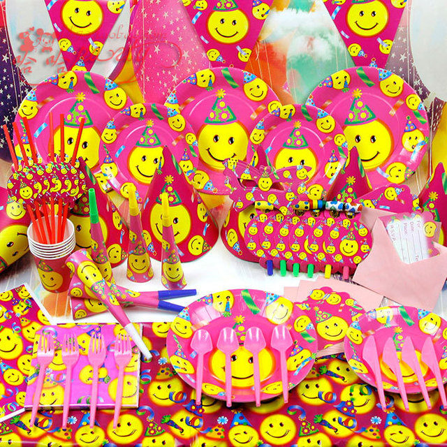 83piecesbag Tableware Kid Baby Boy girls Birthday Party Hot Pink