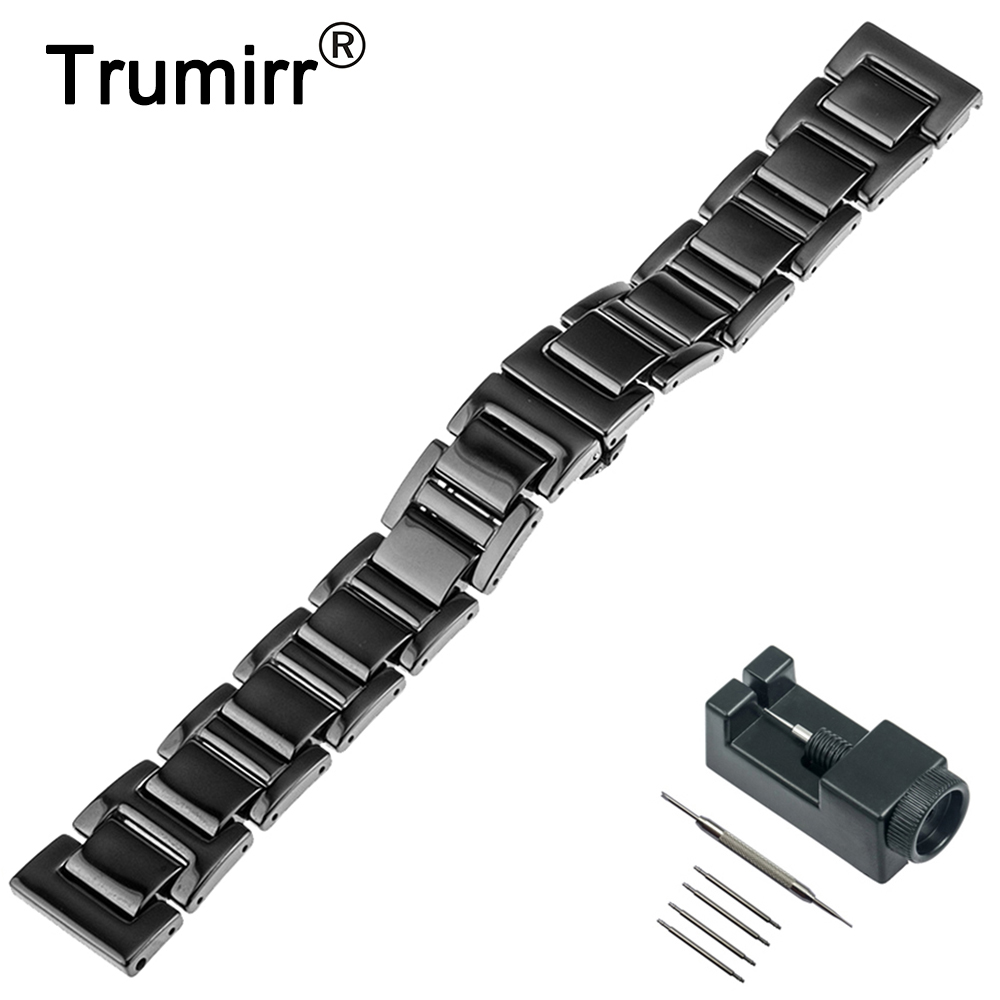 20mm Ceramic Watch Band +Tool for Ticwatch 2 42mm Butterfly Buckle Watchband Replacement Strap Wrist Belt Bracelet Black White horizon elephant reprap delta kossel k800 mini metal magnetic effector chimera hot end assembly kit set for diy 3 d printer al