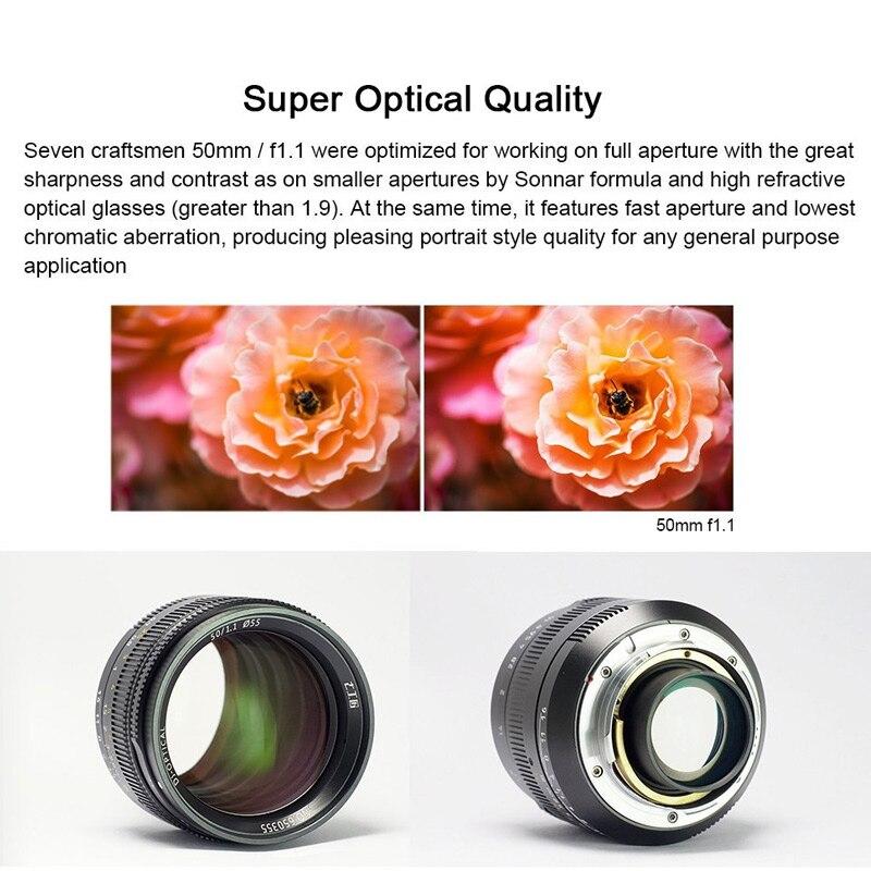 7 artesanos 50mm F1.1 gran apertura marco completo lente Prime ...
