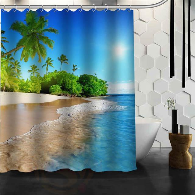Custom Caribbean Beach Shower Curtain Bathroom Products Creative Polyester Home Product