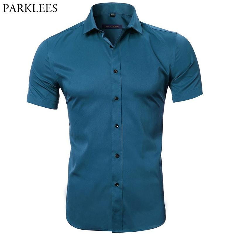 Men's Elastic Bamboo Fiber Dress Shirts 2018 Summer New Short Sleeve Shirt Men Casual Brand Business Work Shirt Camisa Masculina