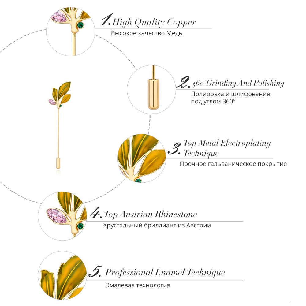 Viennois Fashion Emas Warna Tembaga Enamel Hijau Warna Campuran Daun Rhinestone Bros Pin untuk Wanita Perhiasan Wanita