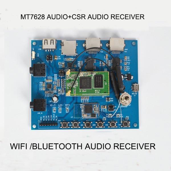 Livraison gratuite 1 pc MTK7628 wifi audio module/RSE Bluetooth audio module/sans fil audio récepteur soutien wif bluetooth