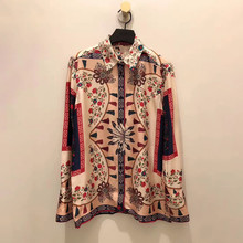 France style women's elegant Shirts new 2019 spring floral print long sleeves Shirts & blouses A260