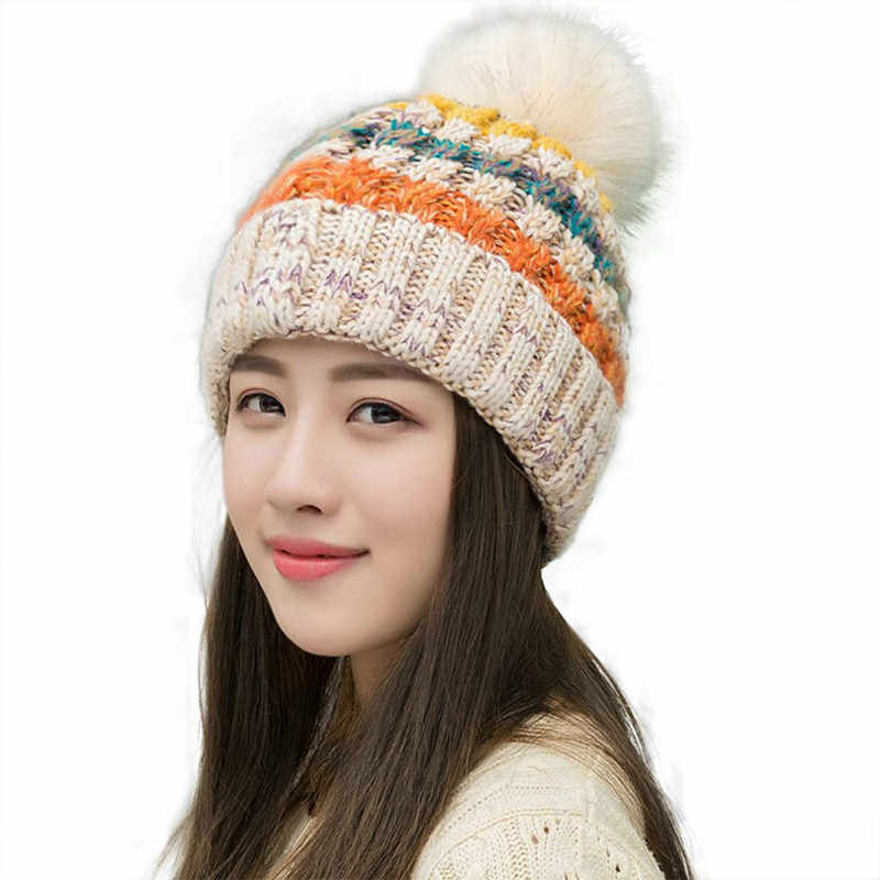 Women s Winter Slouchy Knitted Hat Fleece Lined Cable Faux Fur Pom Beanie  Hat Striped Pompom Hats 617aad502ad3