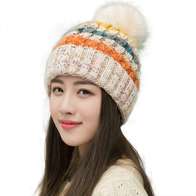 5dcef622298 Women s Winter Slouchy Knitted Hat Fleece Lined Cable Faux Fur Pom Beanie  Hat Striped Pompom Hats Teenager Girl AA10059