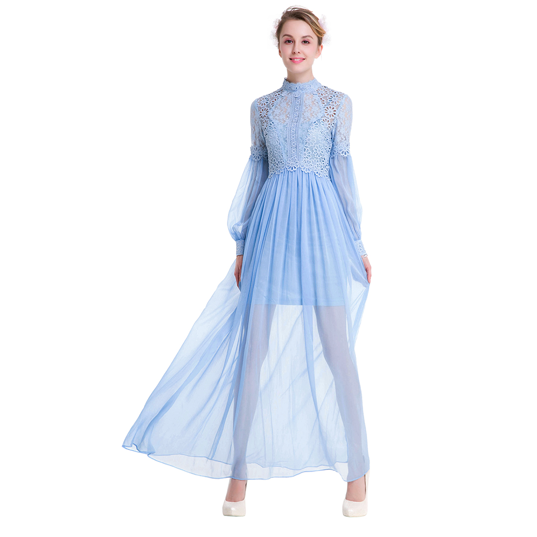 TFGS Original Design Women Original Design Spring Lace Chiffon Two Piece Dress For Women Vintage Hollow