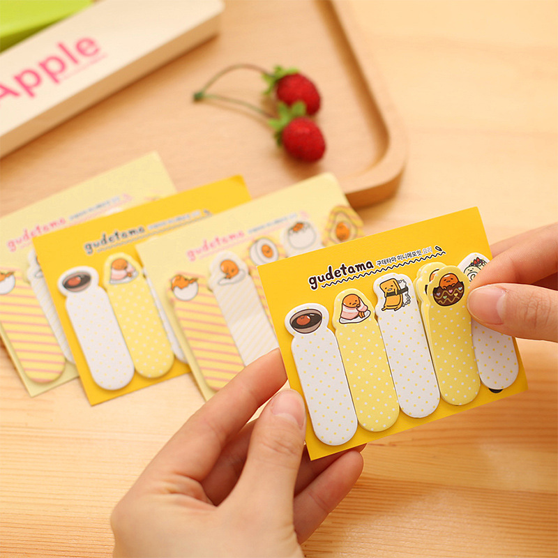 1Pack Cute Yellow Lazy Egg Mini Memo Pad N Times Sticky Notes School Supply Bookmark Post it Label E0399