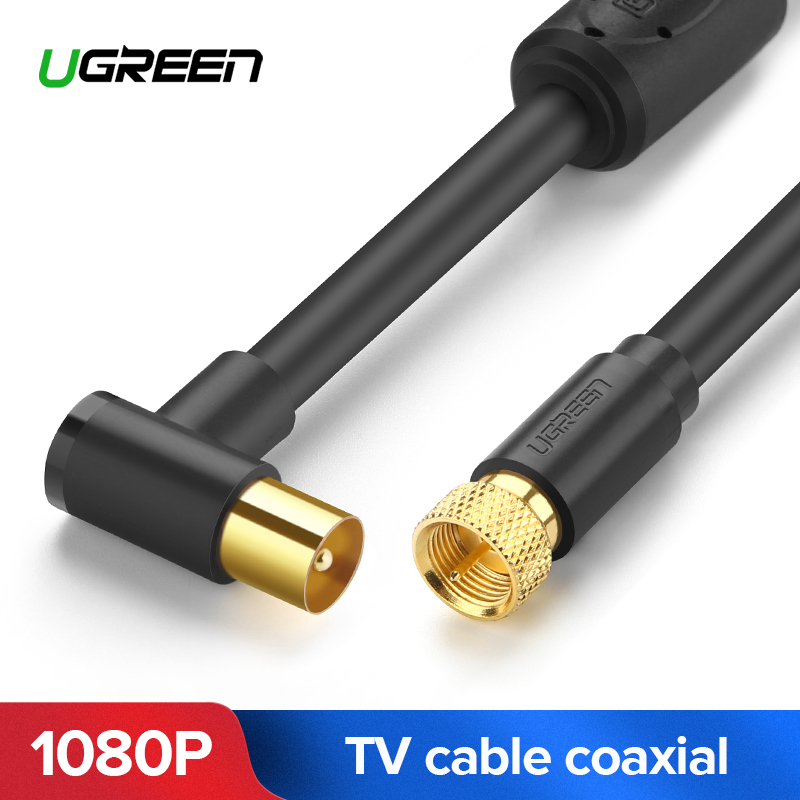 UGREEN RF TV Aerial Coaxial Cable 90 Degree with Two Ferrite Cores for HDTV VCR DVD players satellite AV F-type coaxial cableUGREEN RF TV Aerial Coaxial Cable 90 Degree with Two Ferrite Cores for HDTV VCR DVD players satellite AV F-type coaxial cable