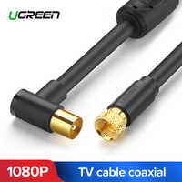 UGREEN RF TV Aerial Coaxial Cable 90 Degree with Two Ferrite Cores for HDTV VCR DVD players satellite AV F-type coaxial cable