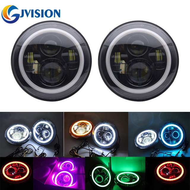 Cars 7'' Round led headlight High/Low beam 7inch 40W Headlamp Halo Ring Angel eye & DRL & Turn signals for Jeep Wrangler JK CJ