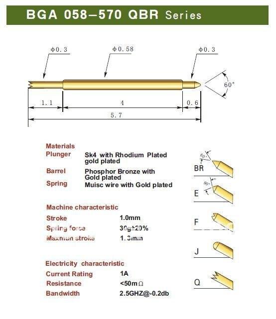 b04783288 شحن مجاني 100 قطعة/الوحدة BGA058-570 بغا 058-570 qbr 5.70 ملليمتر اثنان جزء  ربيع اختبار المسابر