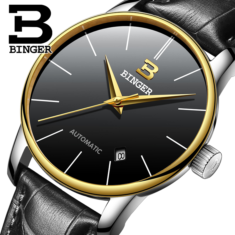 BINGER 2016 Mens watches Top Brand Luxury Mens Business Clock Male Wrist watch Automatic-watch relogio masculino Gold Black  binger brand luxury famous men watches fashion leisure dress automatic watch business leather watch male clock relogio masculino