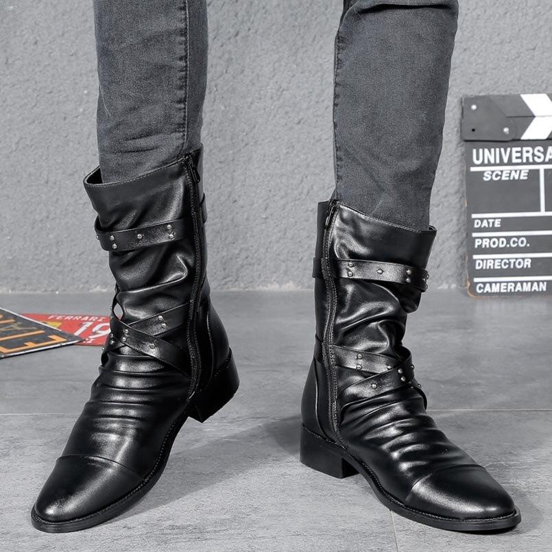 Moda Alta La Fur Negro Hombres Pie black Motocicleta Hombre Nuevos Plus 2018 Dedo Ejército Del De Superior Botas Los Fidanei Cuero 70CYwqp0