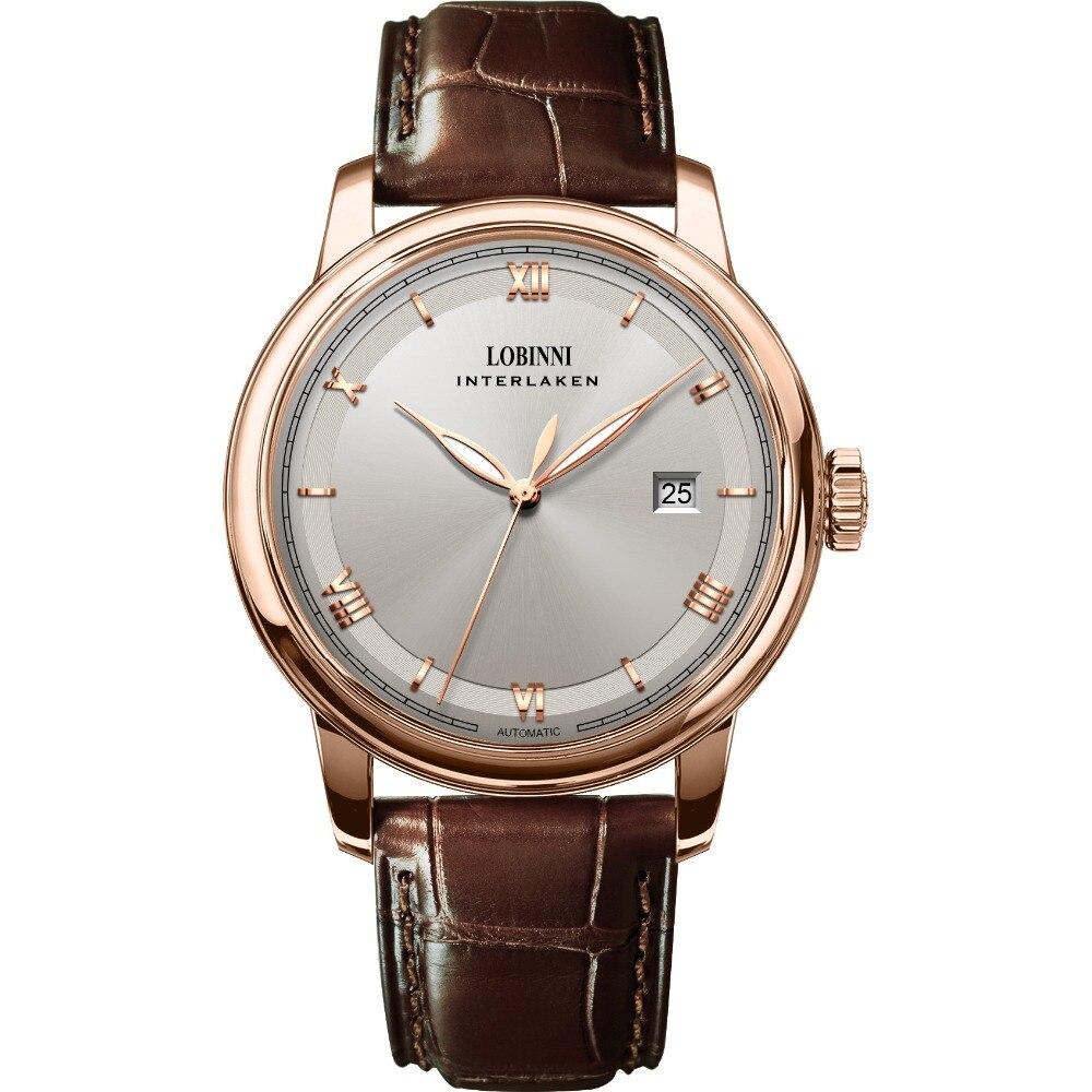 LOBINNI Mens 50M Waterproof Leather Strap Business Single Calendar Luminous Hands Automatic Mechanical Dress Wrist Watch
