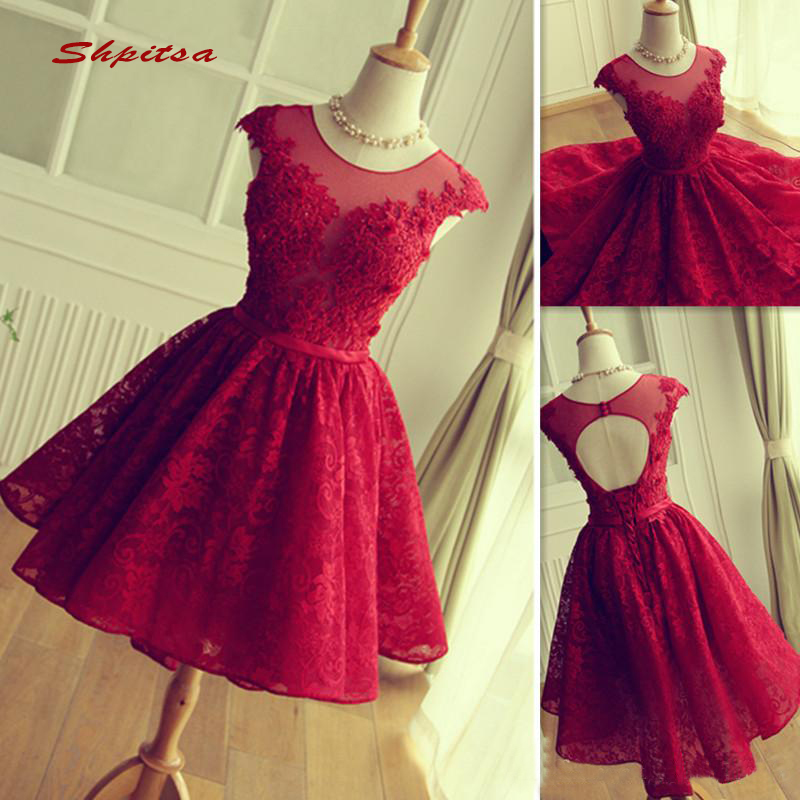 Red Lace Short   Cocktail     Dresses   Party Lace Graduation Women Prom Plus Size Coctail Mini Semi Formal   Dresses
