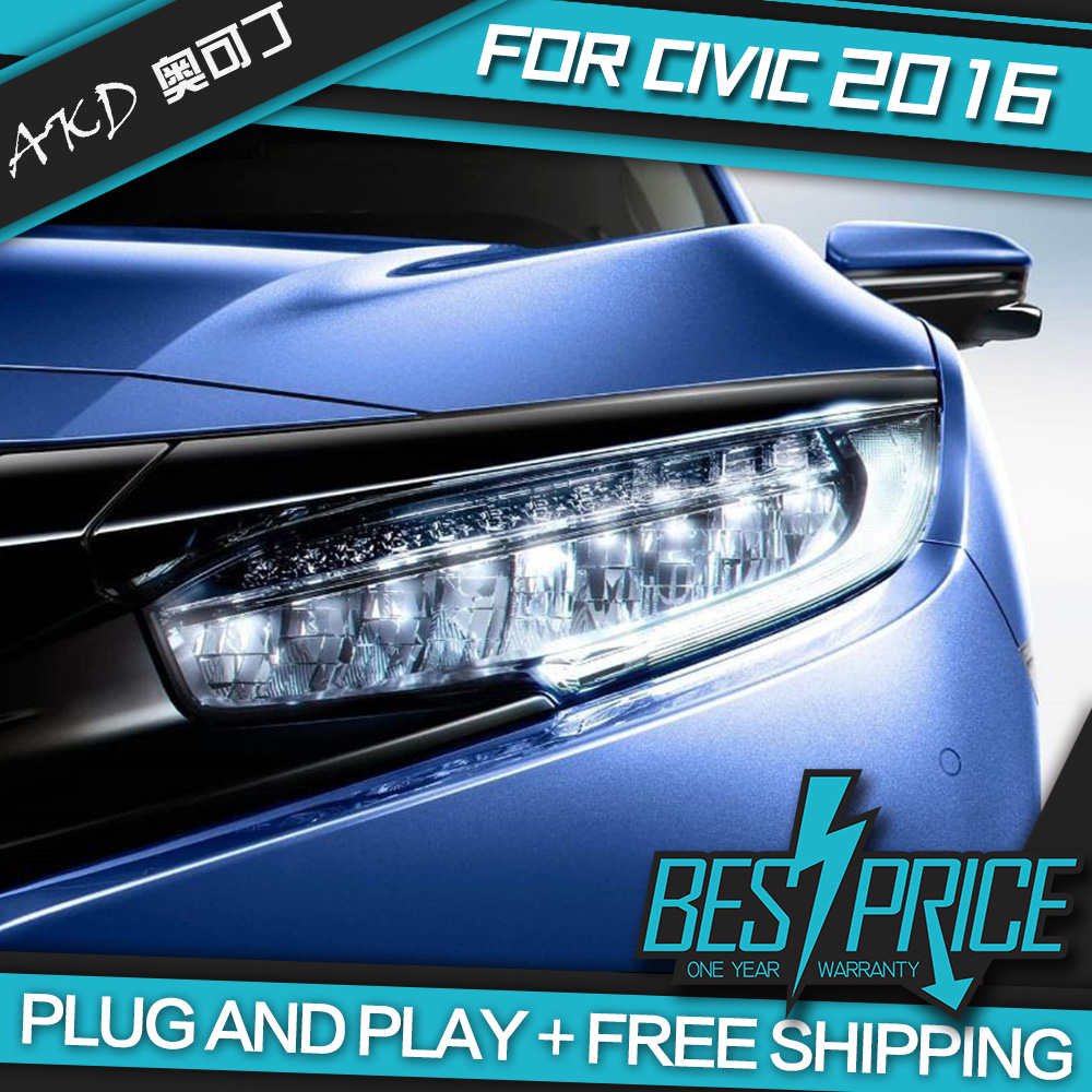 Akd car styling head lamp for honda civic headlights led headlight drl daytime running light bi