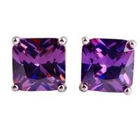 New Fashion Women Jewelry Pretty Princess Cut Purple Amethyst 925 Silver Stud Earrings Whlesale Free Shipping