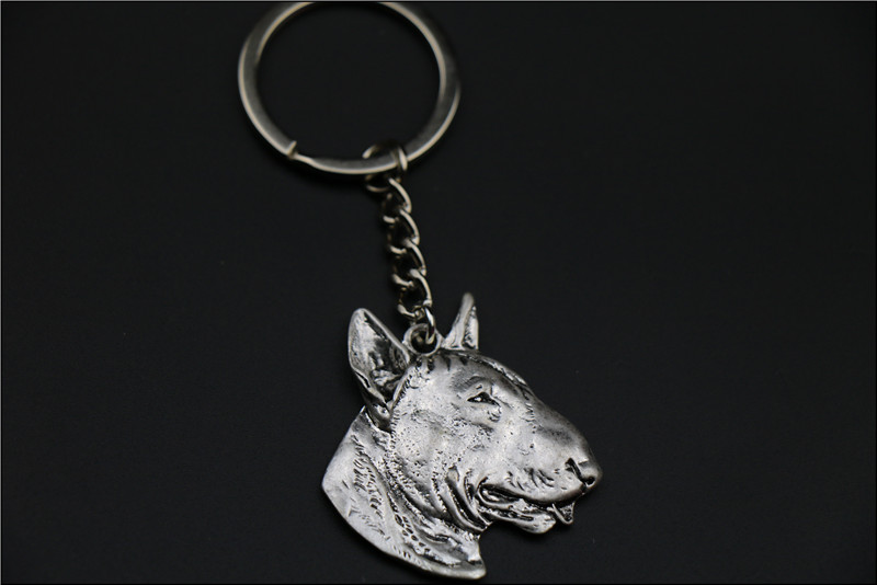 Bull Terrier Keychain jewelry Popular dog Embossed Key Chain New Fashion Silver/golden colors
