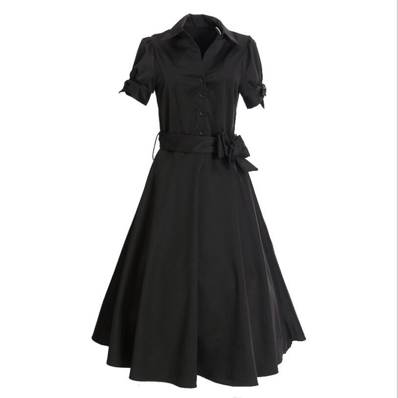 Station européenne populaire nouvelle robe lâche grande taille mode rétro Hepburn robe noir haut de gamme robe de femmes